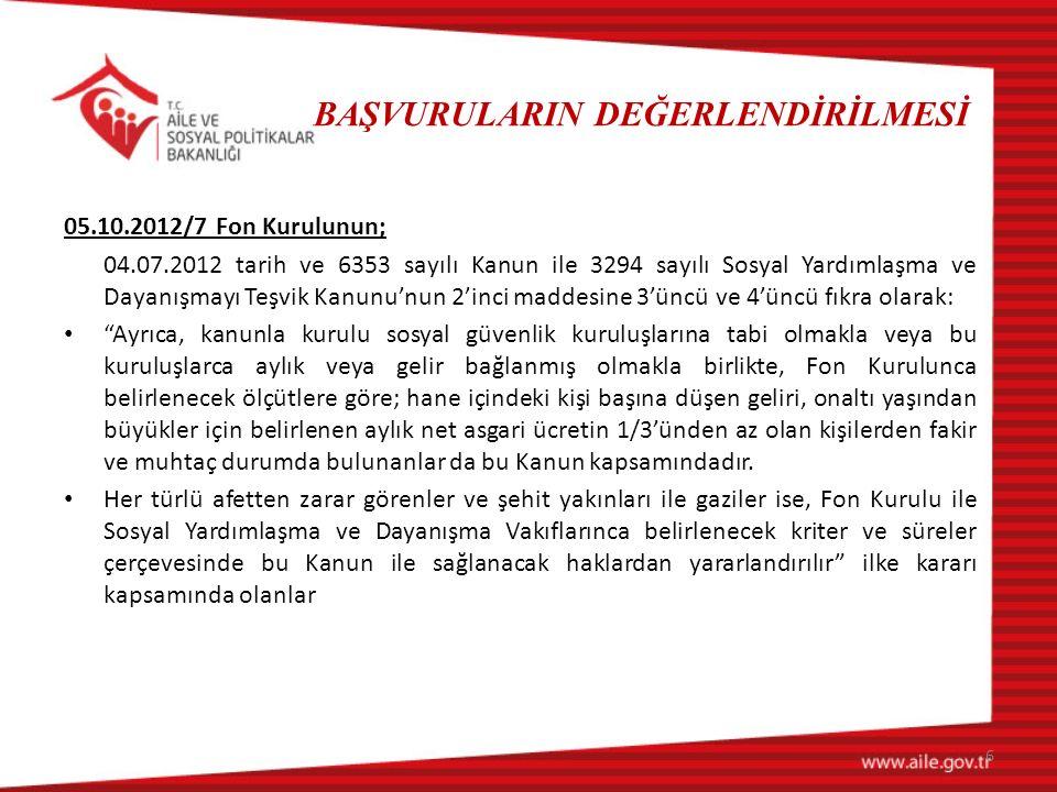 BAŞVURULARIN DEĞERLENDİRİLMESİ 05.10.2012/7 Fon Kurulunun; 04.07.2012 tarih ve 6353 sayılı Kanun ile 3294 sayılı Sosyal Yardımlaşma ve Dayanışmayı Teş