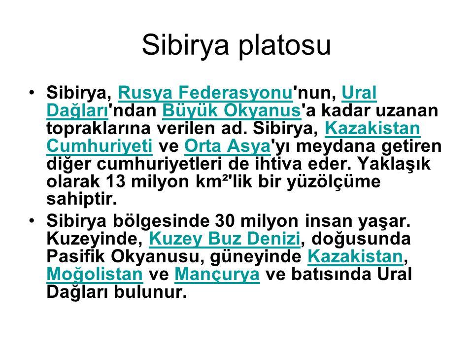Sibirya platosu Sibirya, Rusya Federasyonu'nun, Ural Dağları'ndan Büyük Okyanus'a kadar uzanan topraklarına verilen ad. Sibirya, Kazakistan Cumhuriyet
