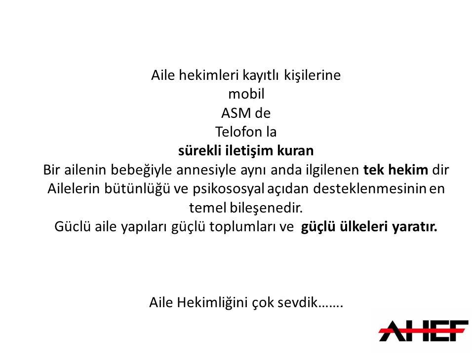 Türkiye Halkının tamamına dokunabilen tek meslek grubu Halkına Aile Hekimliğini tanıtması gerekiyordu.