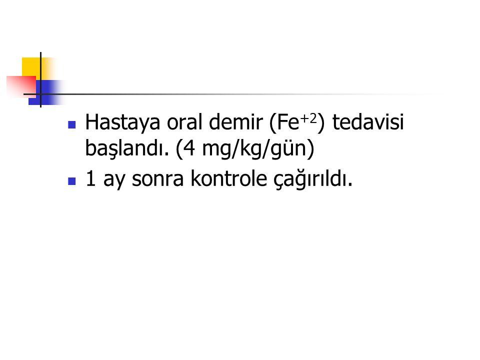 Hastaya oral demir (Fe +2 ) tedavisi başlandı. (4 mg/kg/gün) 1 ay sonra kontrole çağırıldı.
