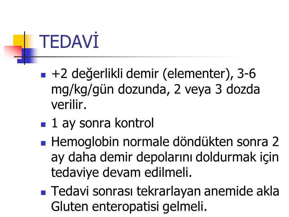 TEDAVİ +2 değerlikli demir (elementer), 3-6 mg/kg/gün dozunda, 2 veya 3 dozda verilir.