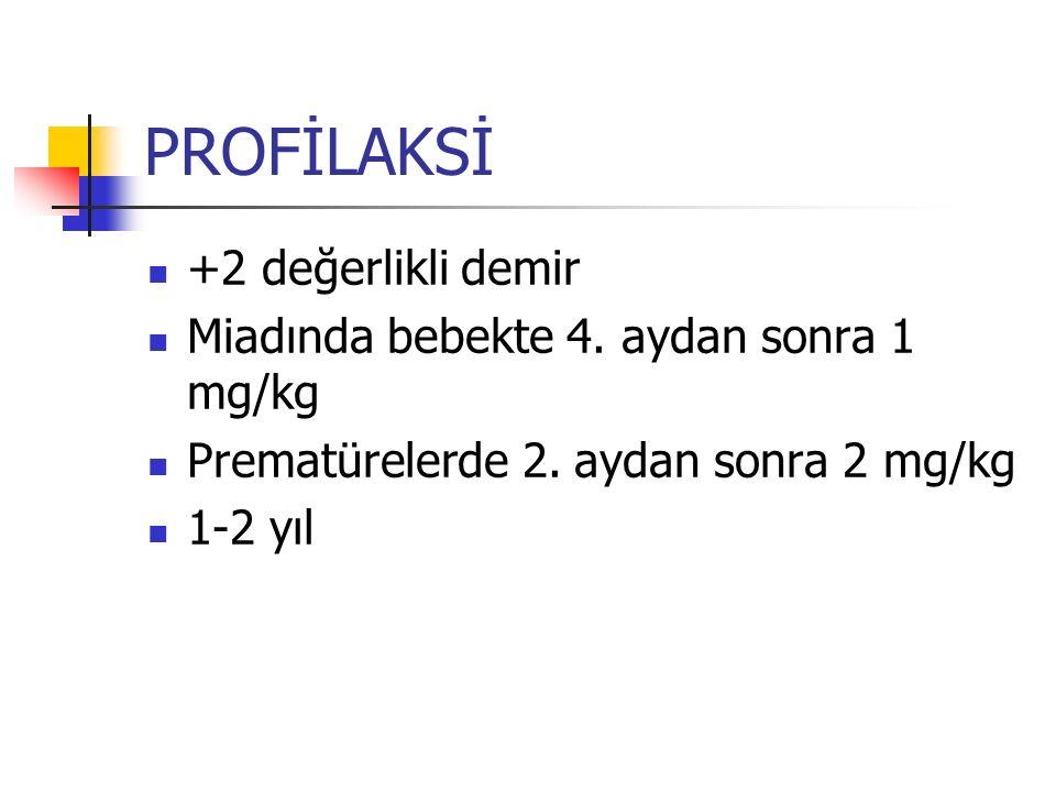 PROFİLAKSİ +2 değerlikli demir Miadında bebekte 4.
