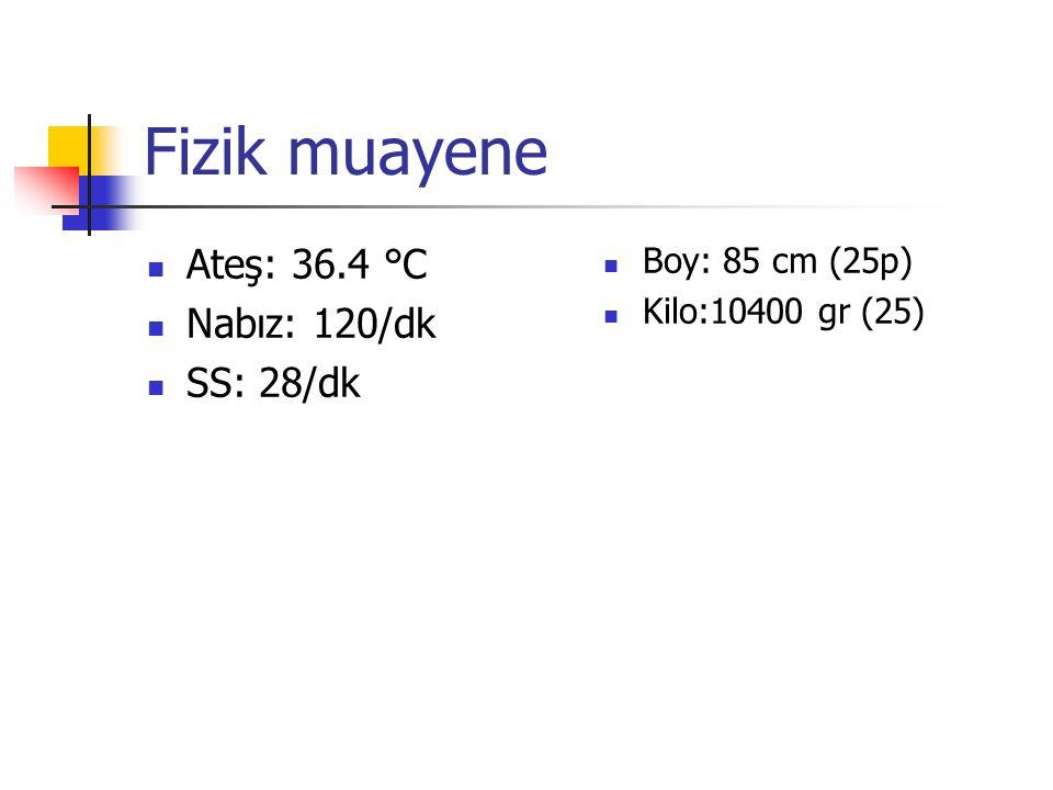 Fizik muayene Ateş: 36.4 °C Nabız: 120/dk SS: 28/dk Boy: 85 cm (25p) Kilo:10400 gr (25)