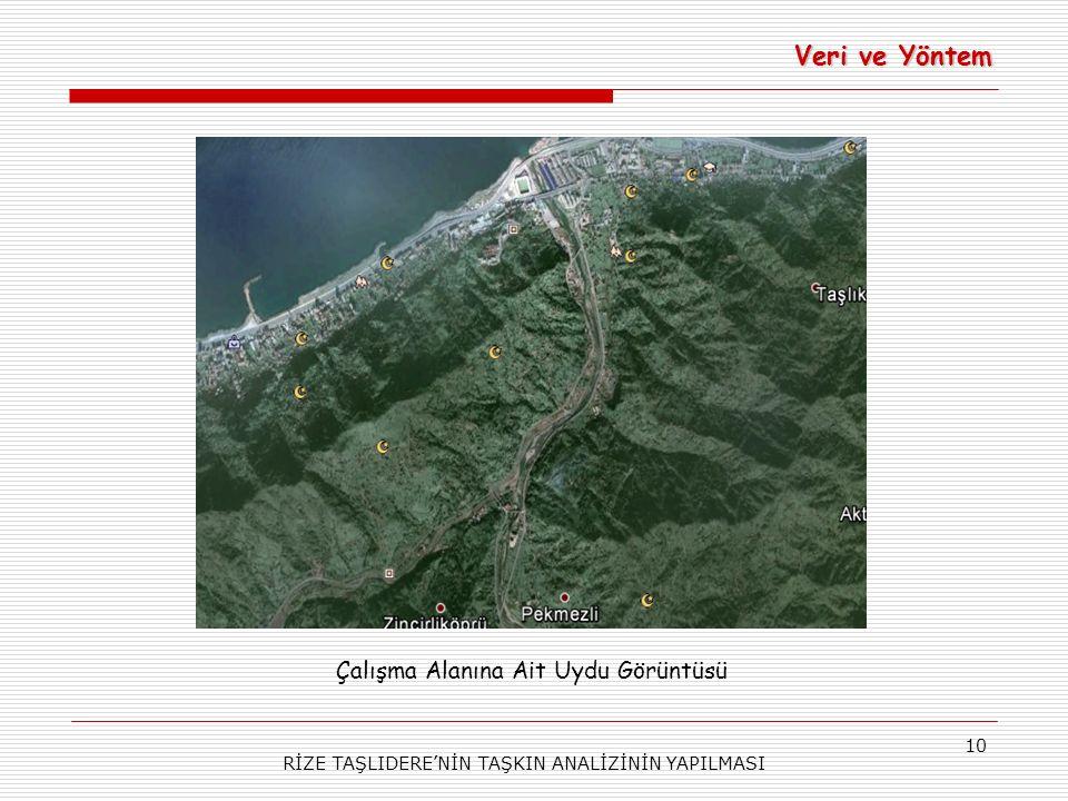 RİZE TAŞLIDERE'NİN TAŞKIN ANALİZİNİN YAPILMASI 10 Veri ve Yöntem Çalışma Alanına Ait Uydu Görüntüsü