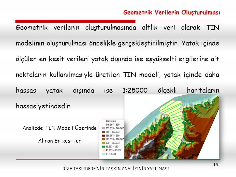 RİZE TAŞLIDERE'NİN TAŞKIN ANALİZİNİN YAPILMASI 15 Geometrik verilerin oluşturulmasında altlık veri olarak TIN modelinin oluşturulması öncelikle gerçekleştirilmiştir.