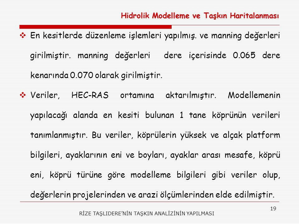 RİZE TAŞLIDERE'NİN TAŞKIN ANALİZİNİN YAPILMASI 19  En kesitlerde düzenleme işlemleri yapılmış.