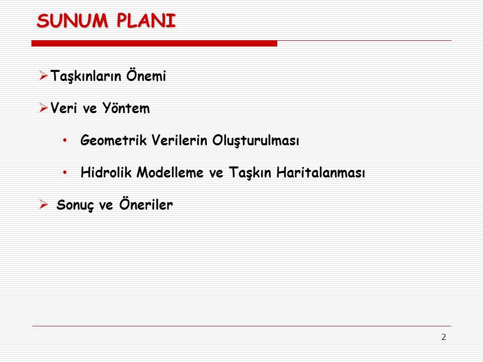 2 SUNUM PLANI  Taşkınların Önemi  Veri ve Yöntem Geometrik Verilerin Oluşturulması Hidrolik Modelleme ve Taşkın Haritalanması  Sonuç ve Öneriler