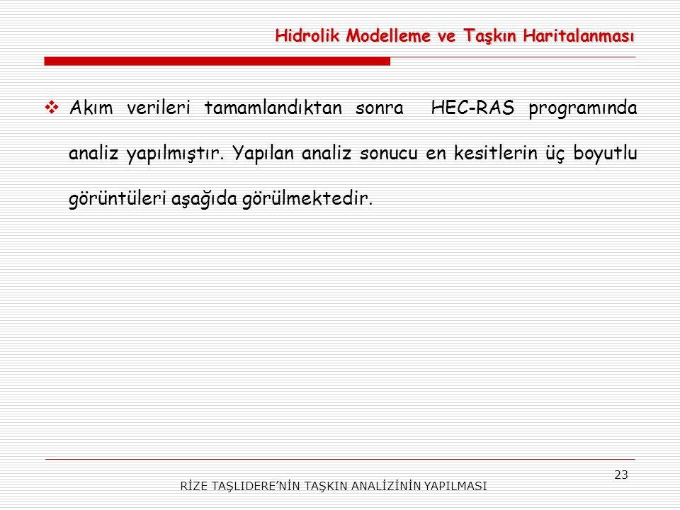 RİZE TAŞLIDERE'NİN TAŞKIN ANALİZİNİN YAPILMASI 23  Akım verileri tamamlandıktan sonra HEC-RAS programında analiz yapılmıştır.