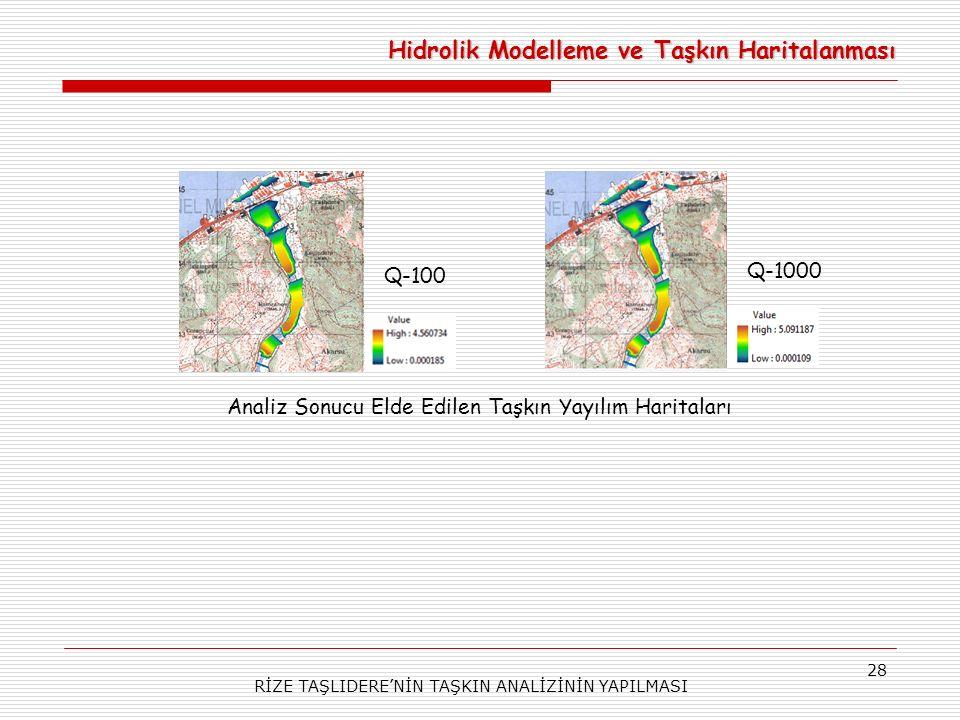 RİZE TAŞLIDERE'NİN TAŞKIN ANALİZİNİN YAPILMASI 28 Hidrolik Modelleme ve Taşkın Haritalanması Analiz Sonucu Elde Edilen Taşkın Yayılım Haritaları Q-100 Q-1000