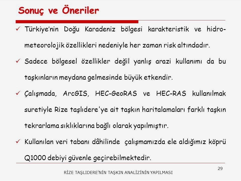 RİZE TAŞLIDERE'NİN TAŞKIN ANALİZİNİN YAPILMASI 29 Türkiye'nin Doğu Karadeniz bölgesi karakteristik ve hidro- meteorolojik özellikleri nedeniyle her zaman risk altındadır.