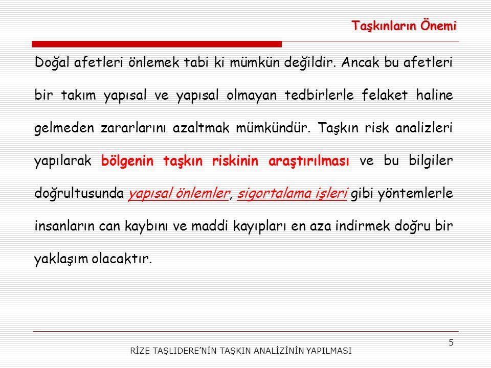 RİZE TAŞLIDERE'NİN TAŞKIN ANALİZİNİN YAPILMASI 5 Taşkınların Önemi Doğal afetleri önlemek tabi ki mümkün değildir.