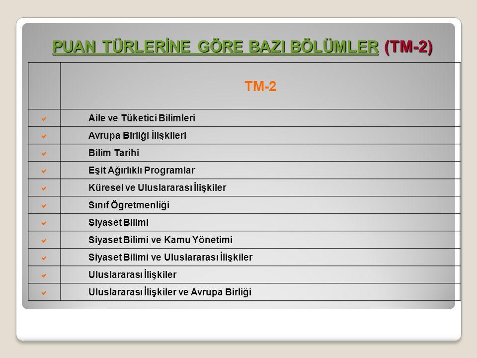 TM-2  Aile ve Tüketici Bilimleri  Avrupa Birliği İlişkileri  Bilim Tarihi  Eşit Ağırlıklı Programlar  Küresel ve Uluslararası İlişkiler  Sınıf Ö