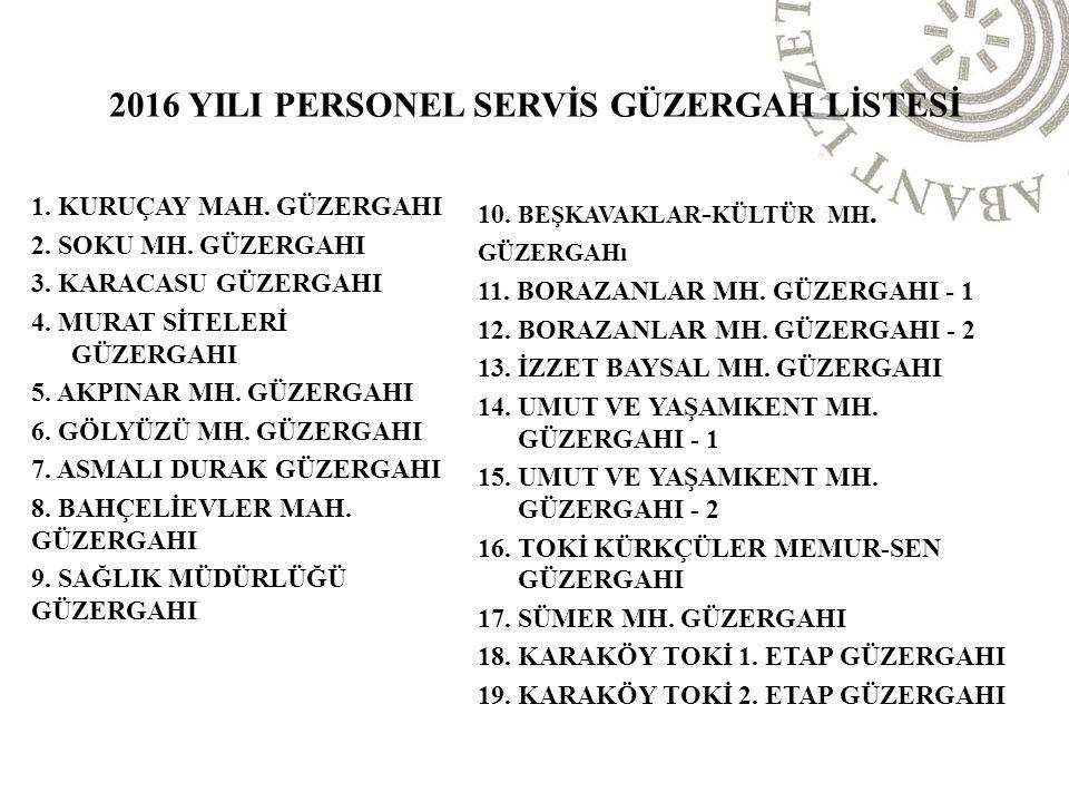2016 YILI PERSONEL SERVİS GÜZERGAH LİSTESİ 1. KURUÇAY MAH.