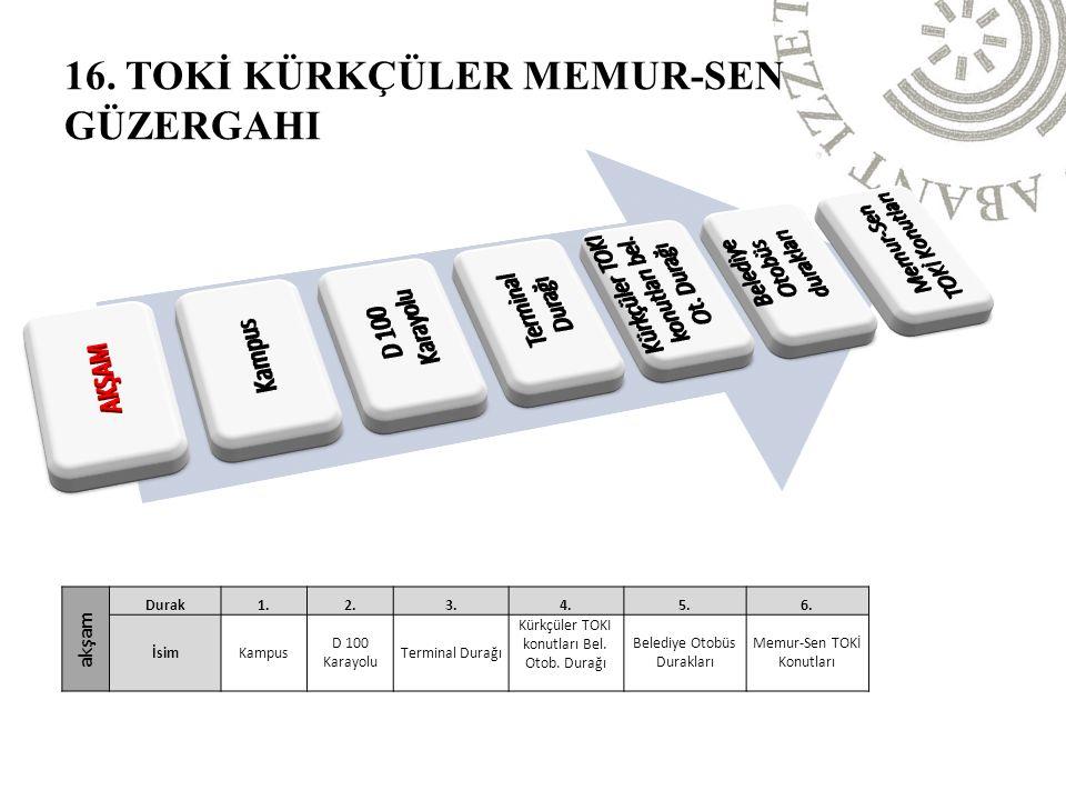 akşam Durak1.2.3.4.5.6. İsimKampus D 100 Karayolu Terminal Durağı Kürkçüler TOKI konutları Bel.