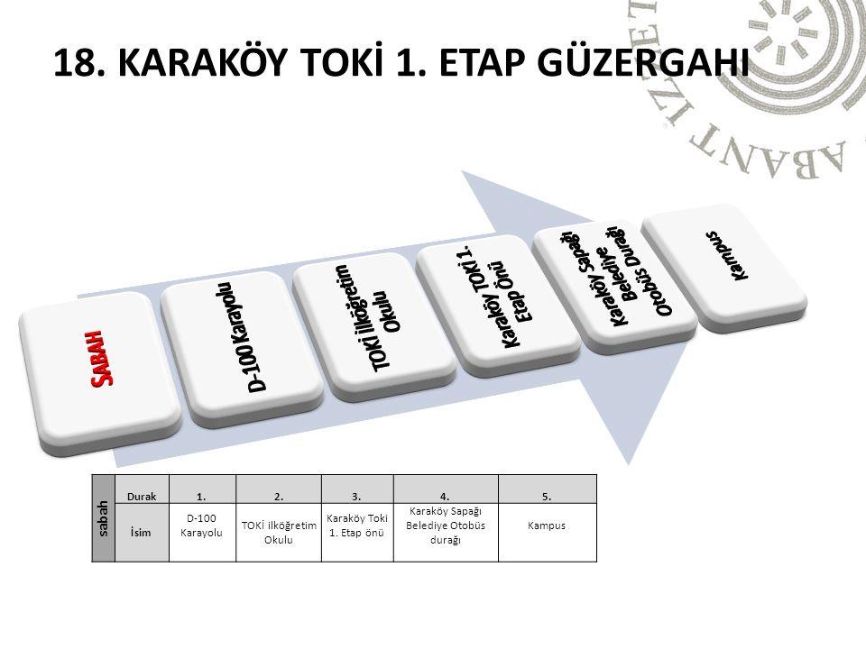 18. KARAKÖY TOKİ 1. ETAP GÜZERGAHI sabah Durak1.2.3.4.5.