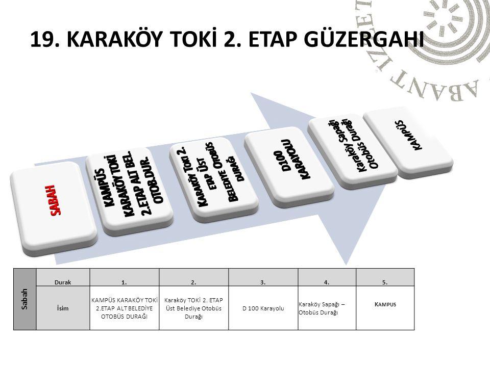 Sabah Durak1.2.3.4.5. İsim KAMPÜS KARAKÖY TOKİ 2.ETAP ALT BELEDİYE OTOBÜS DURAĞI Karaköy TOKİ 2.