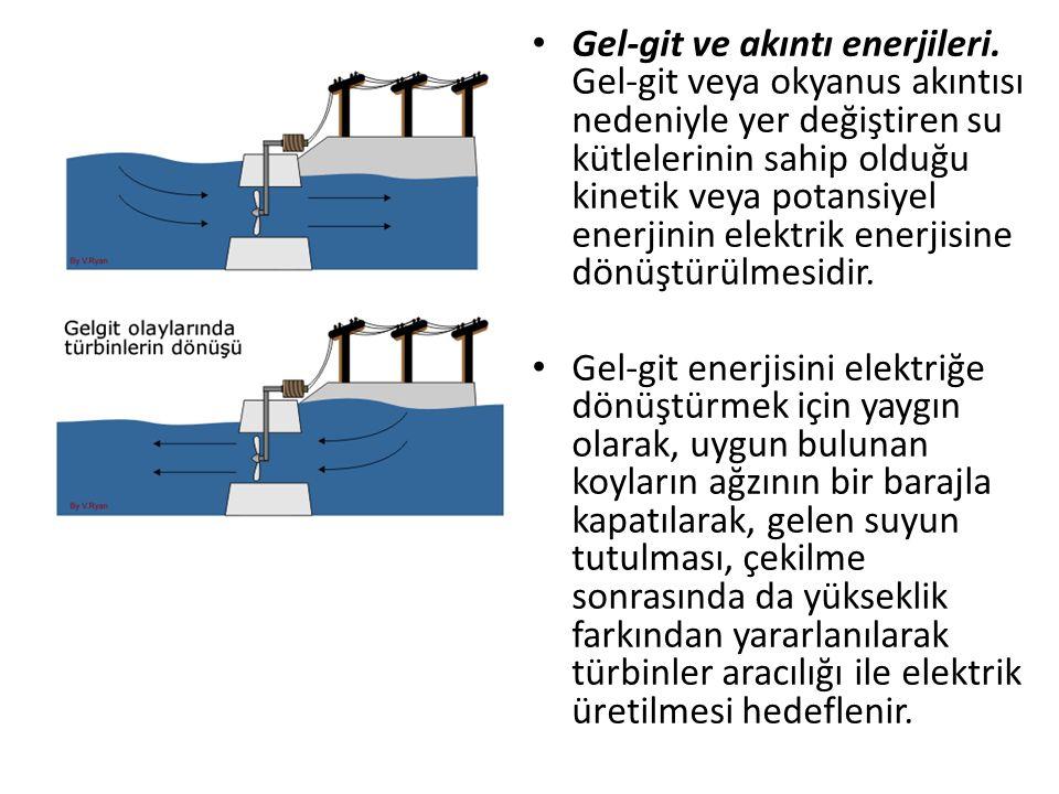 Gel-git ve akıntı enerjileri. Gel-git veya okyanus akıntısı nedeniyle yer değiştiren su kütlelerinin sahip olduğu kinetik veya potansiyel enerjinin el
