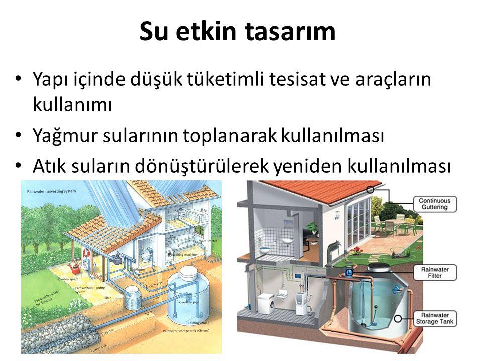 Su etkin tasarım Yapı içinde düşük tüketimli tesisat ve araçların kullanımı Yağmur sularının toplanarak kullanılması Atık suların dönüştürülerek yenid