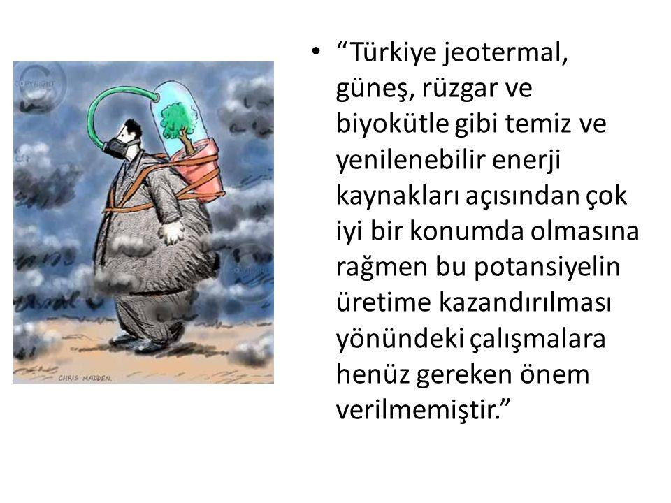 """""""Türkiye jeotermal, güneş, rüzgar ve biyokütle gibi temiz ve yenilenebilir enerji kaynakları açısından çok iyi bir konumda olmasına rağmen bu potansiy"""