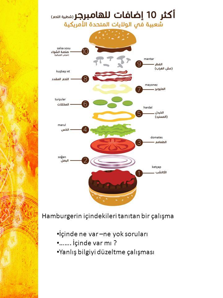 Hamburgerin içindekileri tanıtan bir çalışma İçinde ne var –ne yok soruları ……. İçinde var mı ? Yanlış bilgiyi düzeltme çalışması