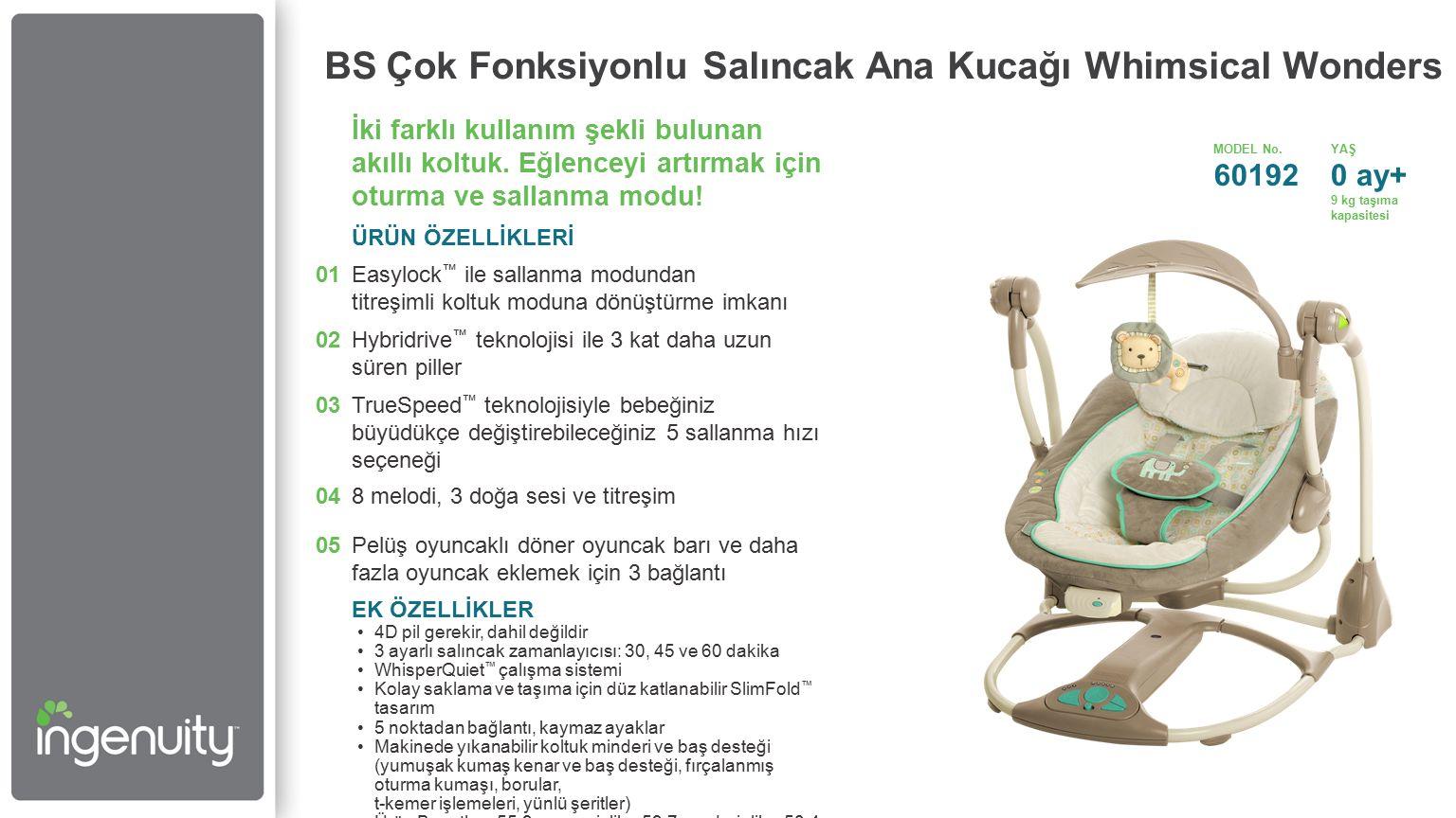 BS Çok Fonksiyonlu Salıncak Ana Kucağı Whimsical Wonders İki farklı kullanım şekli bulunan akıllı koltuk.