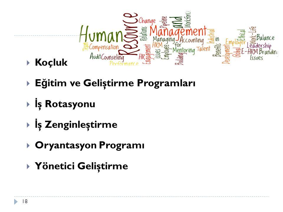 Koçluk  E ğ itim ve Geliştirme Programları  İ ş Rotasyonu  İ ş Zenginleştirme  Oryantasyon Programı  Yönetici Geliştirme 18