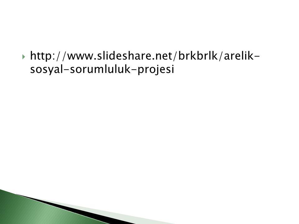  http://www.slideshare.net/brkbrlk/arelik- sosyal-sorumluluk-projesi