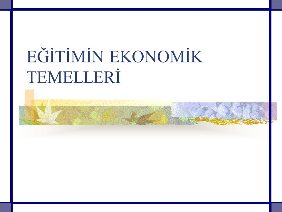Konu Örüntüsü Giriş Toplumsal Bir Kurum Olarak Eğitim Eğitim Kalkınma İlişkisi Eğitim Ekonomik Gelişme Eğitim Gelir İlişkisi Eğitim İstihdam İlişkisi Eğitimde Verimlilik Eğitimde Maliyetler