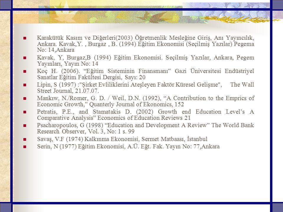 Karakütük Kasım ve Diğerleri(2003) Öğretmenlik Mesleğine Giriş, Anı Yayıncılık, Ankara. Kavak,Y., Burgaz, B. (1994) Eğitim Ekonomisi (Seçilmiş Yazılar