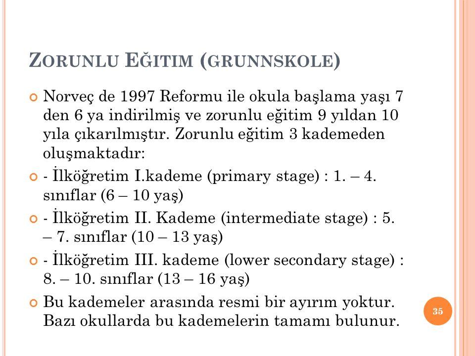 Z ORUNLU E ĞITIM ( GRUNNSKOLE ) Norveç de 1997 Reformu ile okula başlama yaşı 7 den 6 ya indirilmiş ve zorunlu eğitim 9 yıldan 10 yıla çıkarılmıştır.