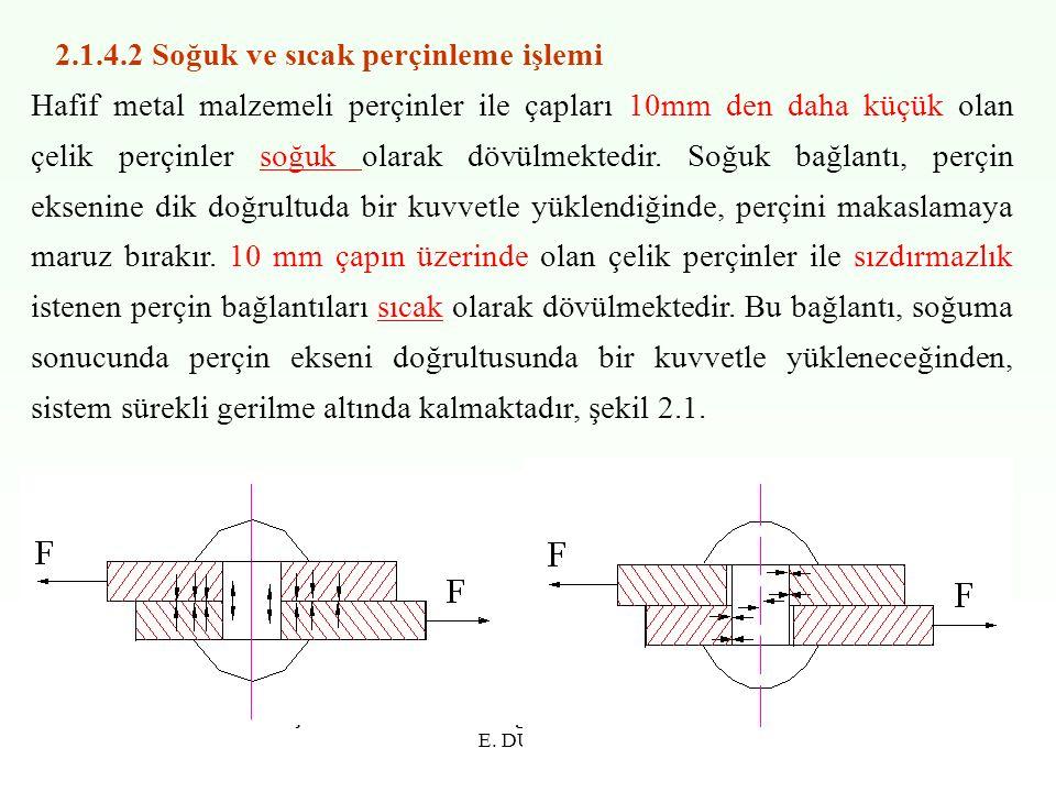 E. DURAK10 2.1.4.2 Soğuk ve sıcak perçinleme işlemi Hafif metal malzemeli perçinler ile çapları 10mm den daha küçük olan çelik perçinler soğuk olarak