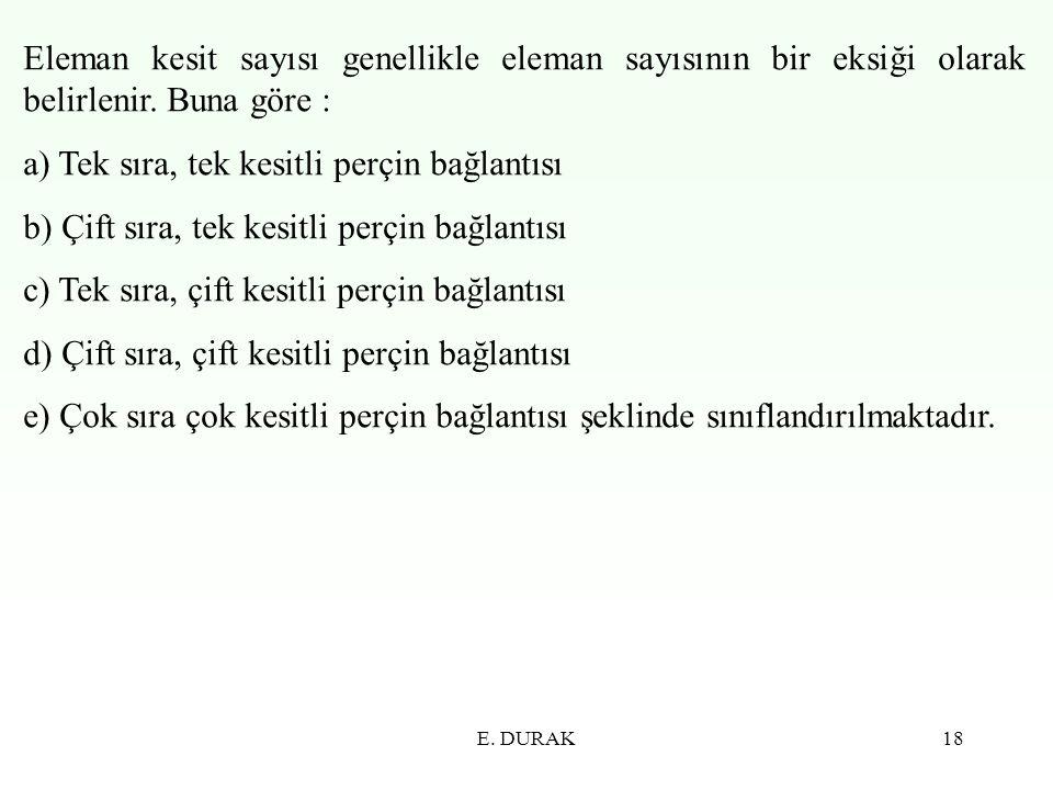 E. DURAK18 Eleman kesit sayısı genellikle eleman sayısının bir eksiği olarak belirlenir. Buna göre : a) Tek sıra, tek kesitli perçin bağlantısı b) Çif
