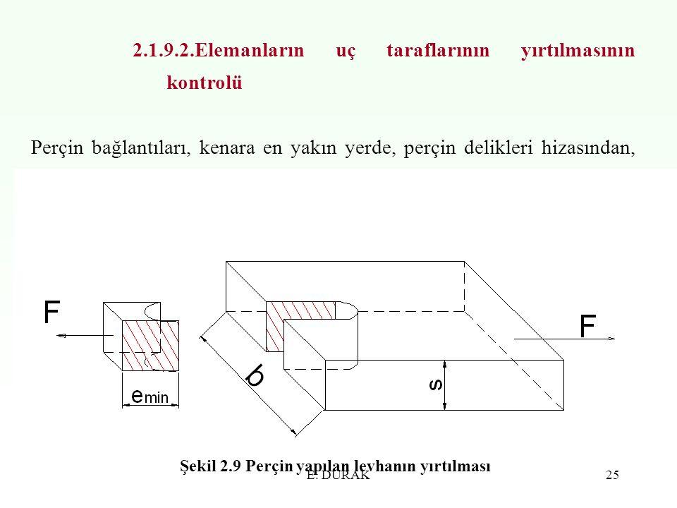E. DURAK25 2.1.9.2.Elemanların uç taraflarının yırtılmasının kontrolü Perçin bağlantıları, kenara en yakın yerde, perçin delikleri hizasından, dış kuv