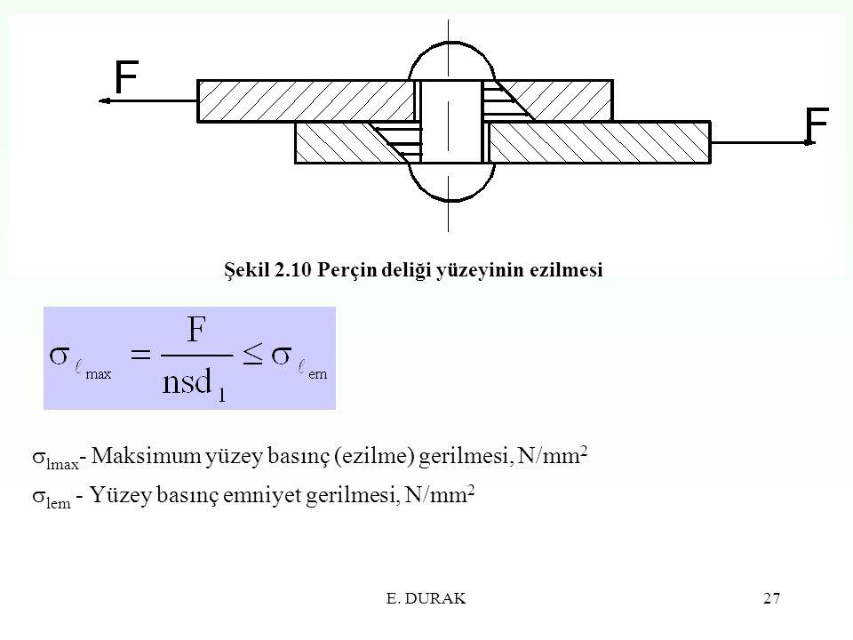 E. DURAK27 Şekil 2.10 Perçin deliği yüzeyinin ezilmesi  lmax - Maksimum yüzey basınç (ezilme) gerilmesi, N/mm 2  lem - Yüzey basınç emniyet gerilmes