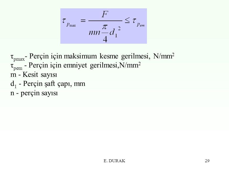 E. DURAK29 τ pmax - Perçin için maksimum kesme gerilmesi, N/mm 2 τ pem - Perçin için emniyet gerilmesi,N/mm 2 m - Kesit sayısı d 1 - Perçin şaft çapı,