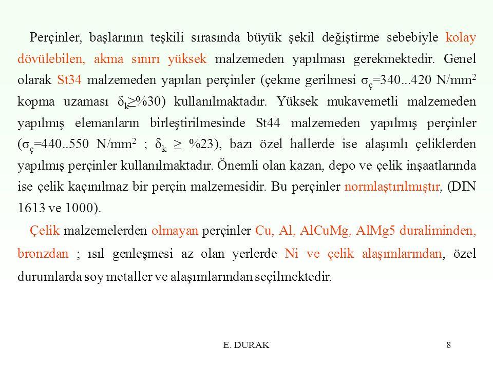E. DURAK19 Şekil 2.7 Perçin bağlantısında perçin