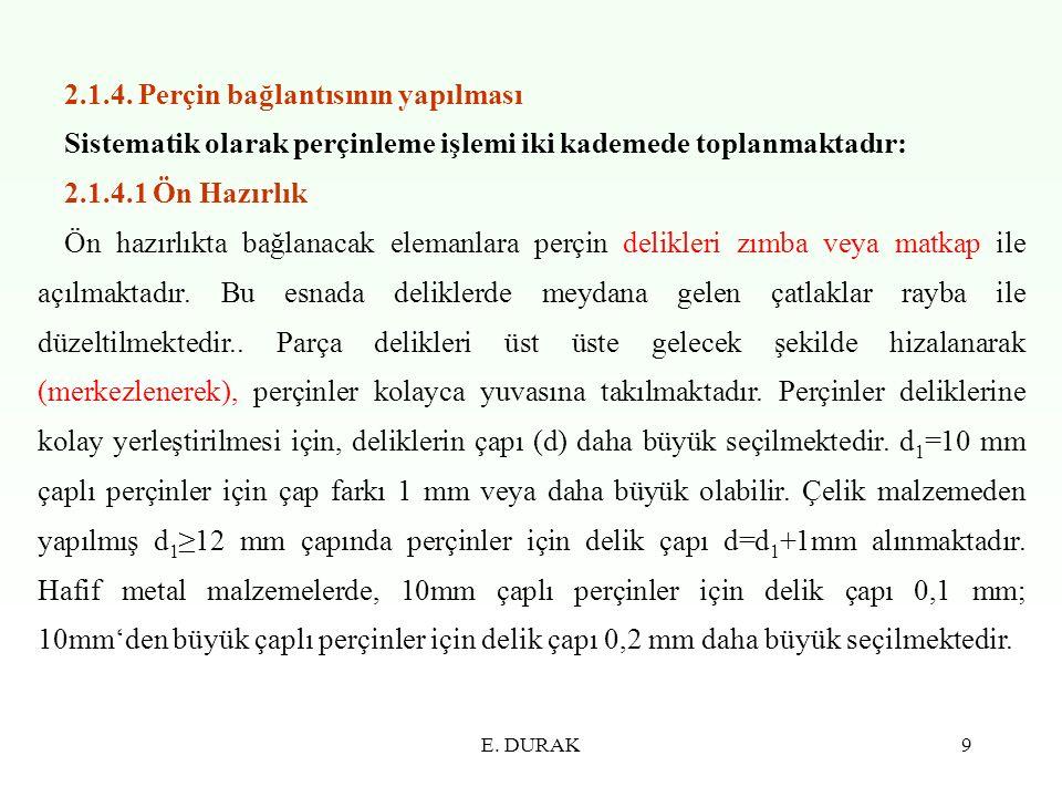 E. DURAK9 2.1.4. Perçin bağlantısının yapılması Sistematik olarak perçinleme işlemi iki kademede toplanmaktadır: 2.1.4.1 Ön Hazırlık Ön hazırlıkta bağ