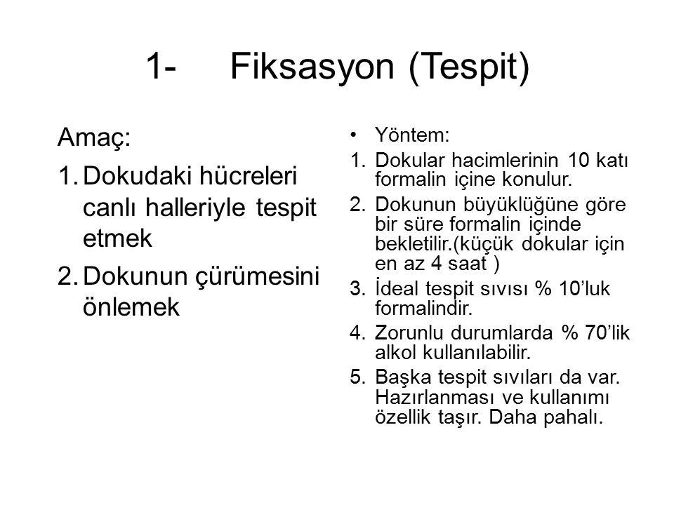 1-FİKSASYON 2-SUYUNU ALMA (dehidrasyon,sertleştirme) 3-SAYDAMLAŞTIRMA 4-PARAFİNİZASYON 5-BLOK HAZIRLAMA (gömme) 6-KESİT ALMA 7-BOYAMA 8-KAPATMA