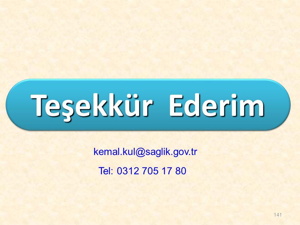 141 Teşekkür Ederim kemal.kul@saglik.gov.tr Tel: 0312 705 17 80