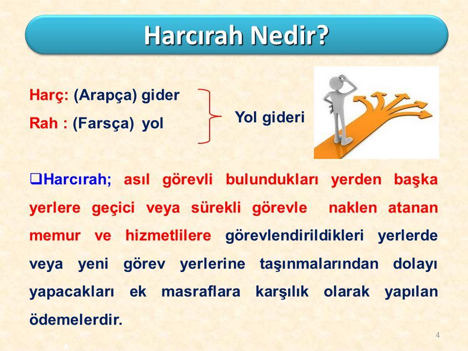 4 Harcırah Nedir? Harç: (Arapça) gider Rah : (Farsça) yol  Harcırah; asıl görevli bulundukları yerden başka yerlere geçici veya sürekli görevle nakle