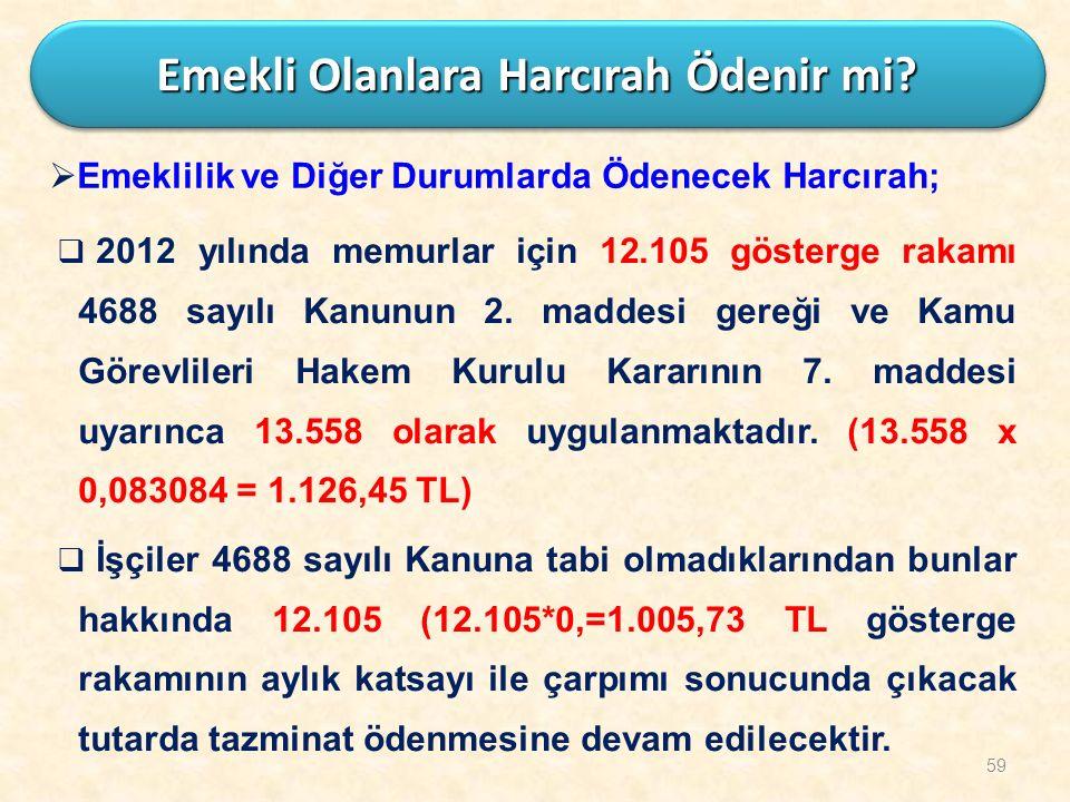 59  2012 yılında memurlar için 12.105 gösterge rakamı 4688 sayılı Kanunun 2. maddesi gereği ve Kamu Görevlileri Hakem Kurulu Kararının 7. maddesi uya