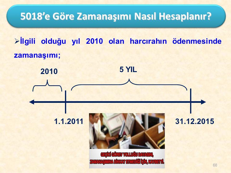 5 YIL 1.1.2011 2010 31.12.2015 68 5018'e Göre Zamanaşımı Nasıl Hesaplanır?  İlgili olduğu yıl 2010 olan harcırahın ödenmesinde zamanaşımı;