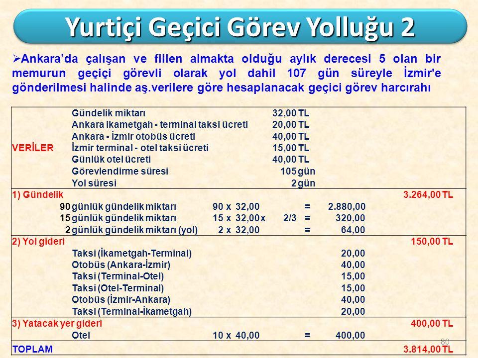 80 Yurtiçi Geçici Görev Yolluğu 2  Ankara'da çalışan ve fiilen almakta olduğu aylık derecesi 5 olan bir memurun geçiçi görevli olarak yol dahil 107 g