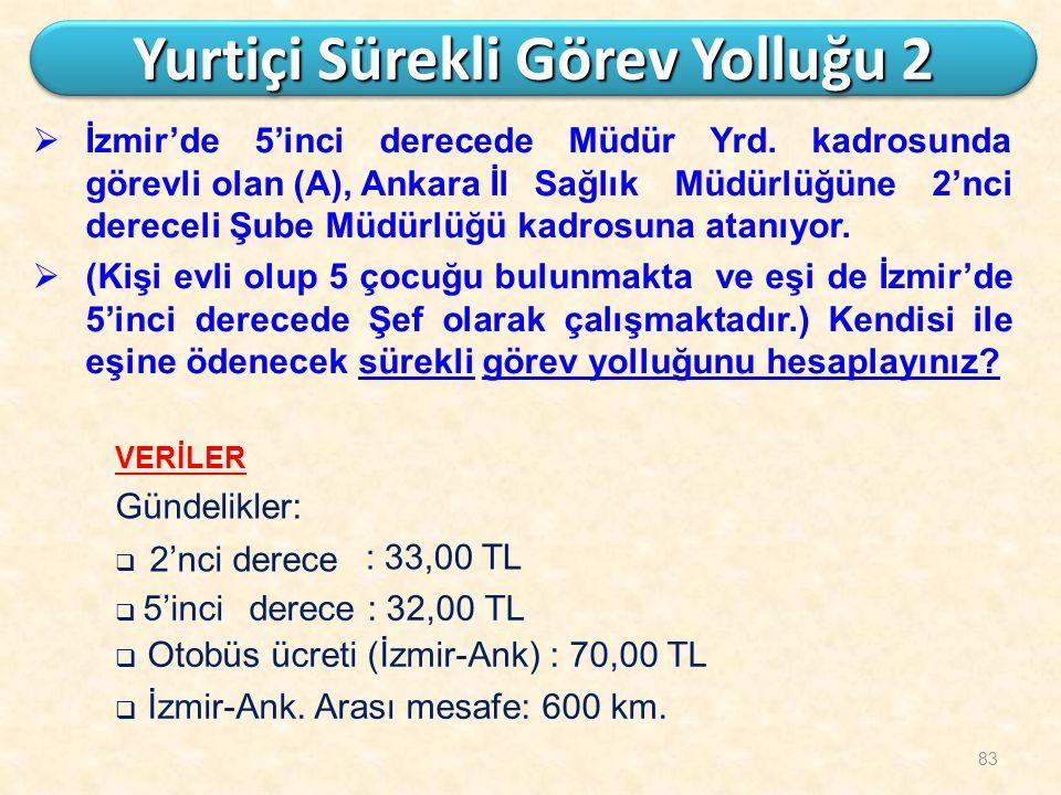 83 Yurtiçi Sürekli Görev Yolluğu 2  İzmir'de 5'inci derecede Müdür Yrd. kadrosunda görevli olan (A), AnkaraİlSağlık Müdürlüğüne 2'nci dereceli Şube M