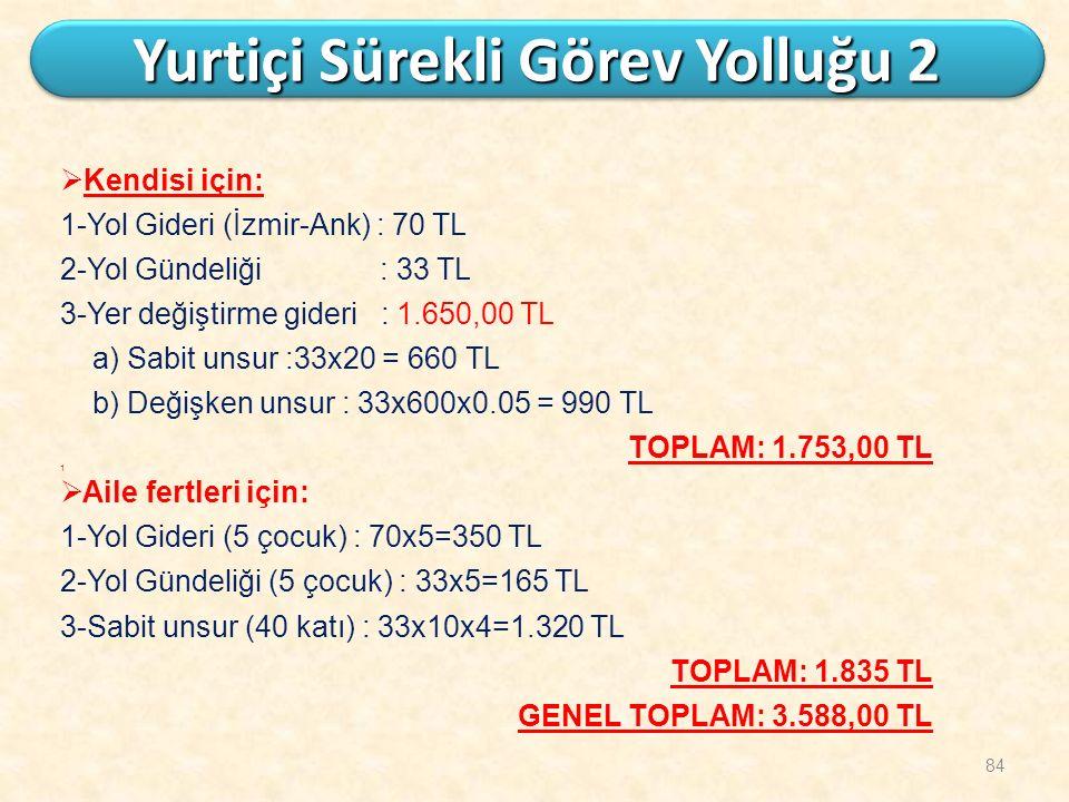 84 Yurtiçi Sürekli Görev Yolluğu 2  Kendisi için: 1-Yol Gideri (İzmir-Ank) : 70 TL 2-Yol Gündeliği : 33 TL 3-Yer değiştirme gideri : 1.650,00 TL a) S