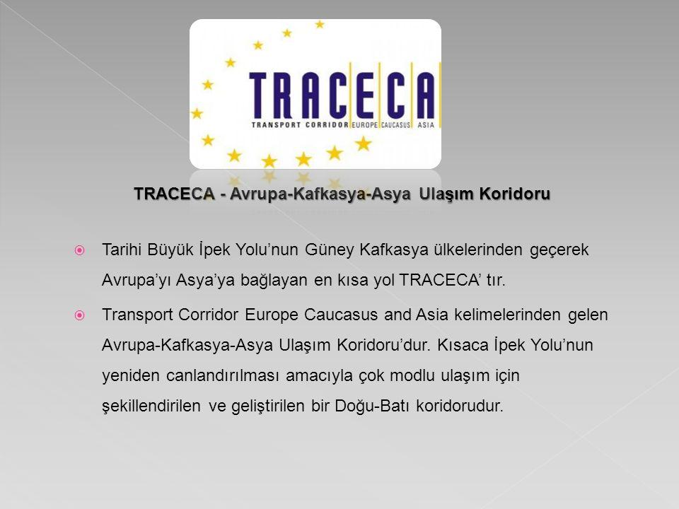TRACECA - Avrupa-Kafkasya-Asya Ulaşım Koridoru  Tarihi Büyük İpek Yolu'nun Güney Kafkasya ülkelerinden geçerek Avrupa'yı Asya'ya bağlayan en kısa yol TRACECA' tır.
