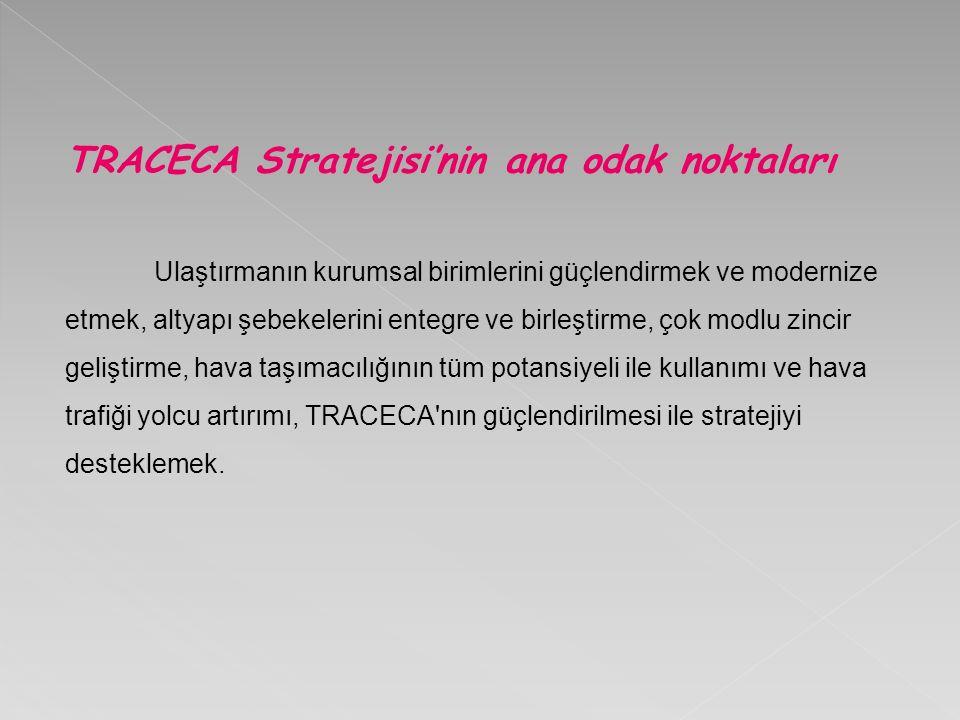 TRACECA Stratejisi'nin ana odak noktaları Ulaştırmanın kurumsal birimlerini güçlendirmek ve modernize etmek, altyapı şebekelerini entegre ve birleştirme, çok modlu zincir geliştirme, hava taşımacılığının tüm potansiyeli ile kullanımı ve hava trafiği yolcu artırımı, TRACECA nın güçlendirilmesi ile stratejiyi desteklemek.