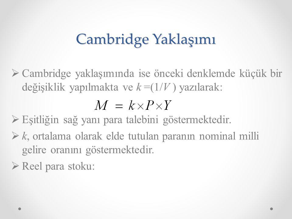 Cambridge Yaklaşımı  Cambridge yaklaşımında ise önceki denklemde küçük bir değişiklik yapılmakta ve k =(1/V ) yazılarak:  Eşitliğin sağ yanı para talebini göstermektedir.