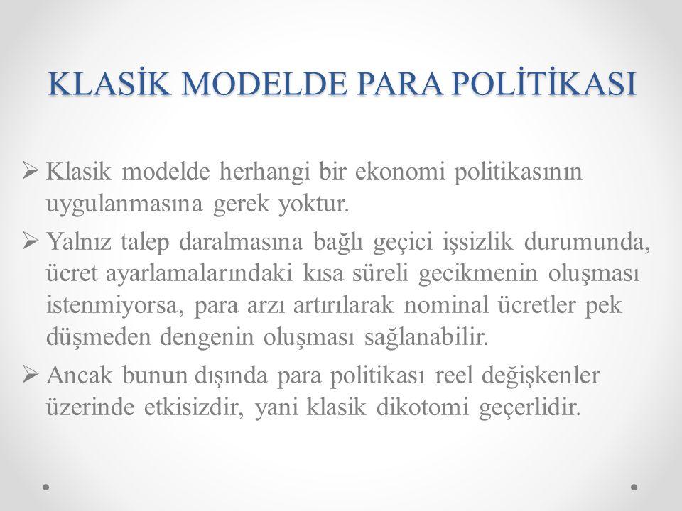 KLASİK MODELDE PARA POLİTİKASI  Klasik modelde herhangi bir ekonomi politikasının uygulanmasına gerek yoktur.  Yalnız talep daralmasına bağlı geçici