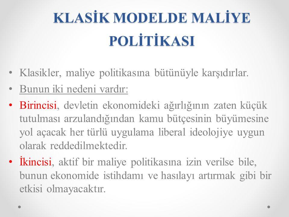 KLASİK MODELDE MALİYE POLİTİKASI Klasikler, maliye politikasına bütünüyle karşıdırlar.